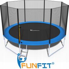 Батут FunFit 404 см - 13ft с внешней сеткой и лестницей+ПОДАРОК