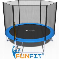 Батут FunFit 312 см - 10ft с внешней сеткой и лестницей+ПОДАРОК