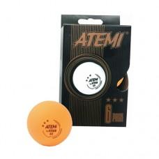 Мячи для настольного тенниса Atemi 3* (6шт) orange