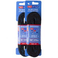 Пара шнурков для коньков с пропиткой Tex Style Black W918 р-р 2,44