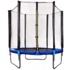 Батут FunFit 140 см - 4.5ft с внешней сеткой (на пружинах) до 80 кг, В синем цвете.